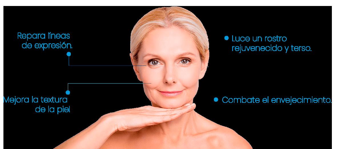 Repara líneas de expresión, Mejora la textura de la piel, Luce un rostro rejuvenecido y terso, Combate el envejecimiento.